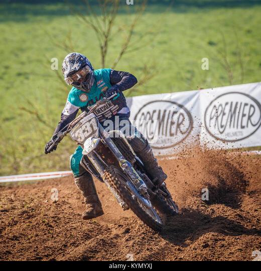 Jordan Prediger auf der HUsqvarna MX2 Am 2017 Maxxis British Championship, Cadders Hill, Lyng, Norfolk, Großbritannien. Stockbild