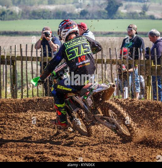Taylor Hammal auf der Hobbs Racing Kawasaki MX2 Am 2017 Maxxis British Championship, Cadders Hill, Lyng, Norfolk, Stockbild