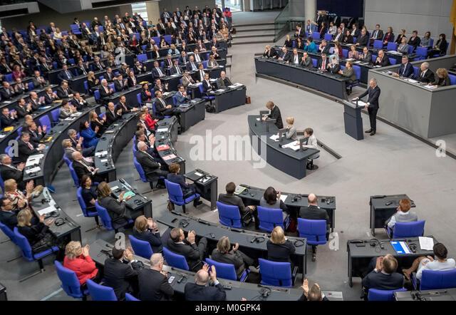 Berlin, Deutschland. 22 Jan, 2018. François de Rugy, Präsident der Nationalversammlung von Frankreich, Stockbild