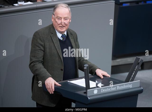 Berlin, Deutschland. 22 Jan, 2018. Alternative für Deutschland (AfD) fraktionschef Alexander Gauland spricht Stockbild