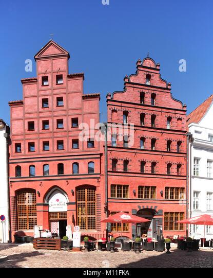 Altes Haus Fassade Scheelhaus, Stralsund, Mecklenburg-Vorpommern, Deutschland, Europa ich Scheelhaus, Restaurant Stockbild