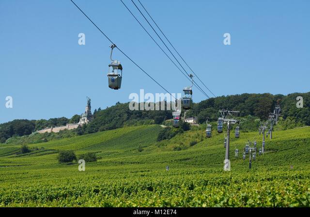 Gondeln, Seilbahn zum Niederwalddenkmal Monument, Rüdesheim, Hessen, Deutschland, Europa ich Seilbahn zum Niederwalddenkmal, Stockbild