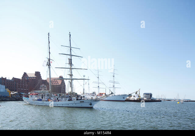 Segelschiff Greif in der Stralsunder Hafen, Stralsund, Mecklenburg-Vorpommern, Deutschland, Europa Stockbild