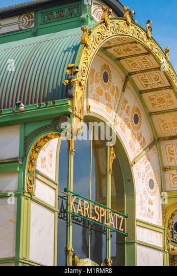 Wien Karlsplatz U-Bahn, Detail der Karlsplatz u-bahn Station - eines der besten Beispiele in der Architektur des Stockbild
