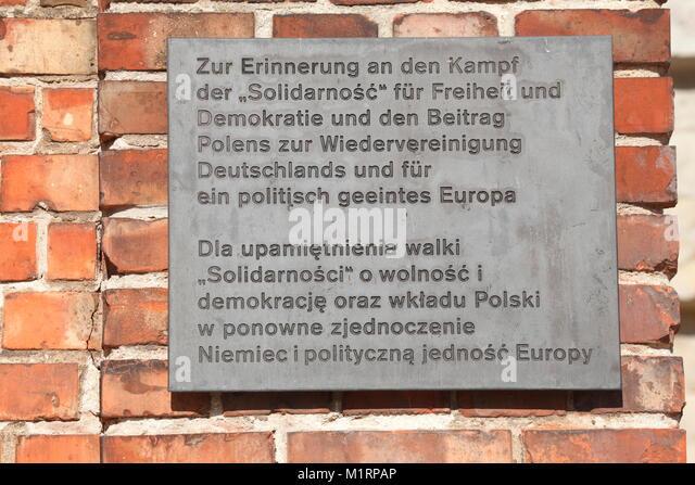 Solidarnosc Gedenktafel, Berlin, Deutschland, Europa Stockbild