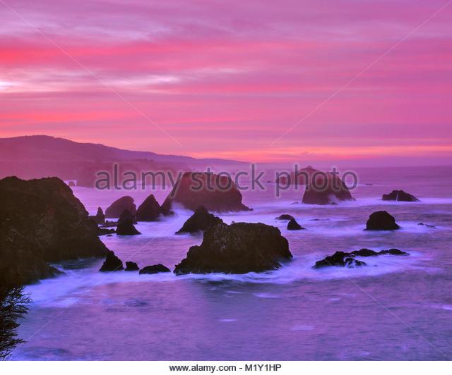 Cuffy Cove, Greenwood Creek State Beach, Mendocino, Kalifornien Stockbild