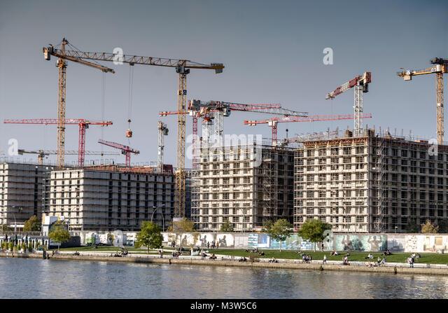 Konstruktion Media Spree, Hotel und Office Campus, East Side Gallery, Spree Riverside, Friedrichshain, Berlin Stockbild