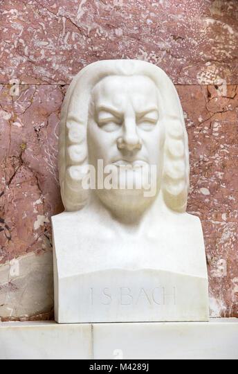 Büste des deutschen Komponisten Johann Sebastian Bach in der Ruhmeshalle Walhalla in Donaustauf in der Nähe Stockbild