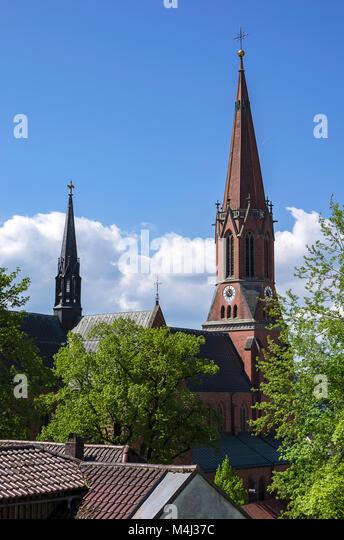 Die katholische Pfarrkirche St. Nikolaus in Zwiesel, Bayerischer Wald, Bayern, Deutschland. Stockbild