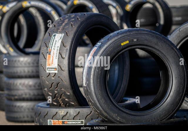 Reifen für Wettbewerber Autos an die 2018 Motorsport News Snetterton Bühne Rally, Norfolk, Großbritannien. Stockbild