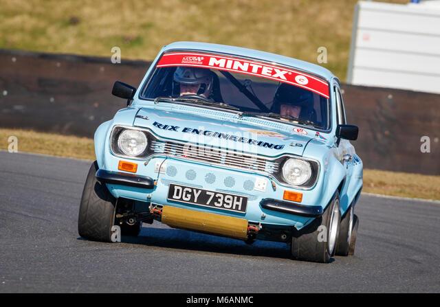 Ian und Matt Rix Smalley in der 2 Liter Ford Escort im 2018 Motorsport News Snetterton Bühne Rally, Norfolk, Stockbild