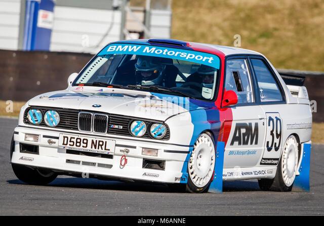 Joe Geach und Christopher Brierley in seinem BMW E30 M3 2,5 Liter in der Motorsport News Snetterton Bühne Rallye Stockbild