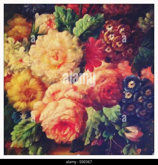 Eine Nahaufnahme der Abschnitt auf einem Ölgemälde von Blumen Stockbild