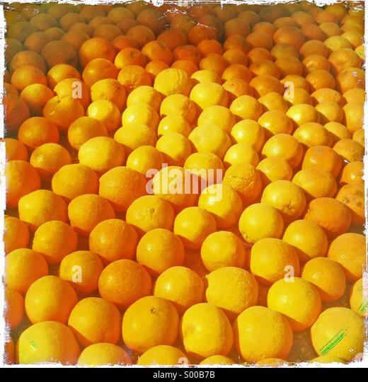 Orangen auf dem Display an Zitronenfest Menton Frankreich Stockbild