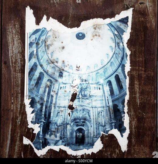 Dorn-Plakat, die Kirche des Heiligen Grabes im christlichen Viertel in alte Stadt Ost Jerusalem Israel darstellt Stockbild