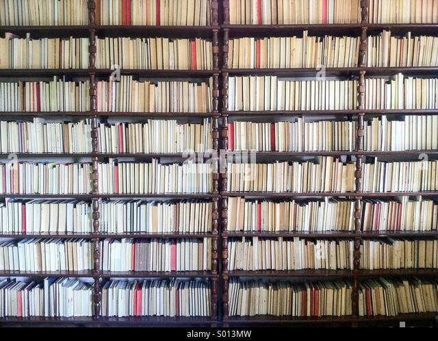 Große Sammlung von Büchern in der Bibliothek Stockbild