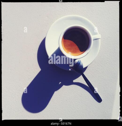 Kaffee-Obertasse Schatten Stockbild