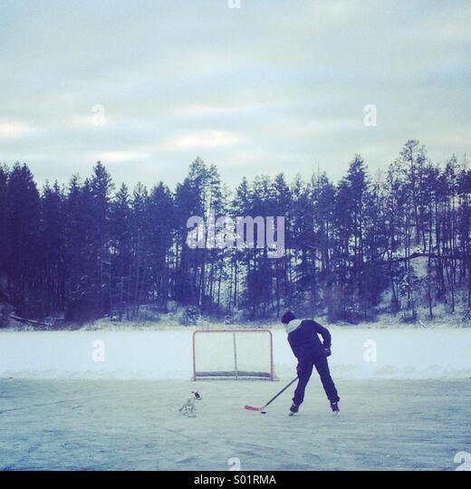 Kanadische Landschaft: ein Junge spielt Hockey auf einem zugefrorenen Teich mit seinem Hund im Schlepptau. Stockbild