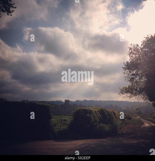 Atmosphärische britische Landschaft, Milborne Port, Somerset, England, UK Stockbild