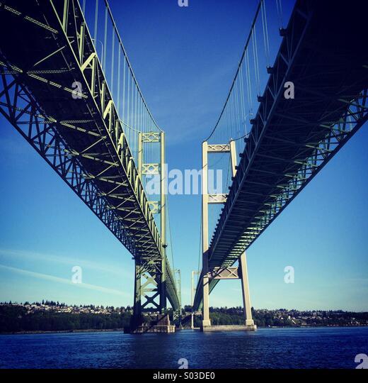 Tacoma Narrows Brücken, Puget Sound, Tacoma, Washington Stockbild