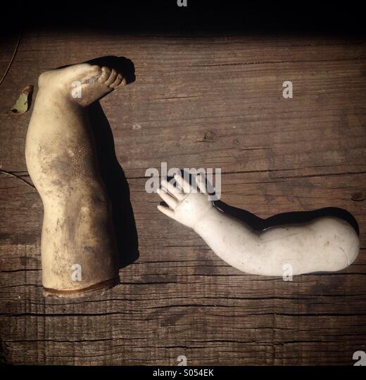 Ein Arm und ein Bein einer Puppe auf der Insel der Puppen, Xochimilco, Mexiko-Stadt, Mexiko Stockbild