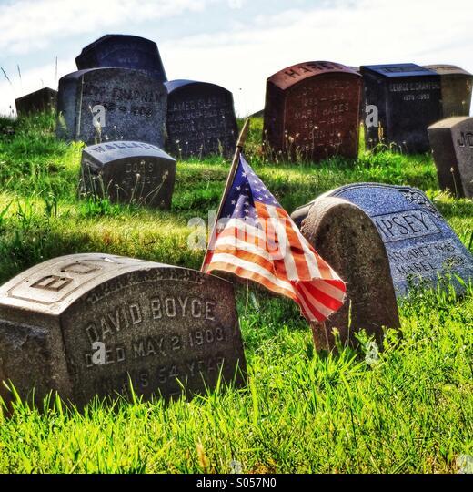 Greenwood Friedhof am Memorial Day Stockbild