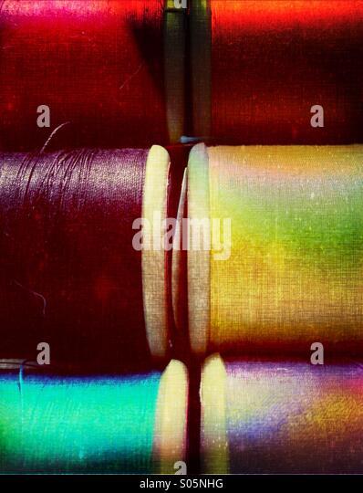 Nahaufnahme von Baumwolle Spulen Stockbild