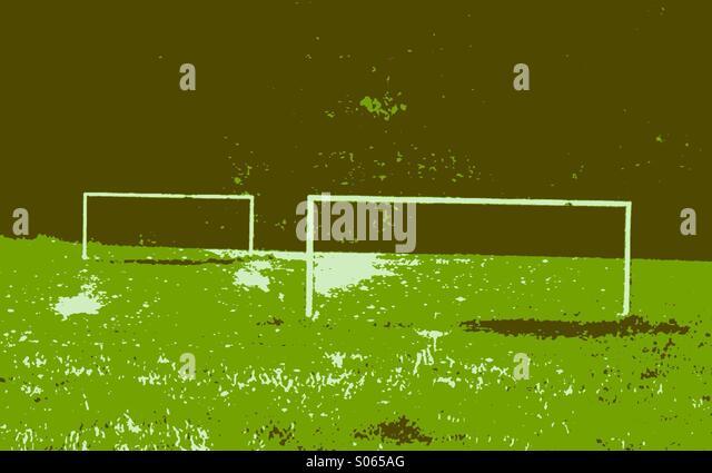 Stilisierte Ansicht von Fußballplatz und Ziele Stockbild