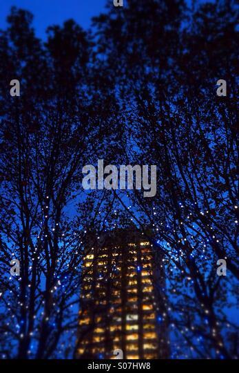 Gebäude in der Nacht mit Bäumen und Lichter (geneigte Fokus) Stockbild