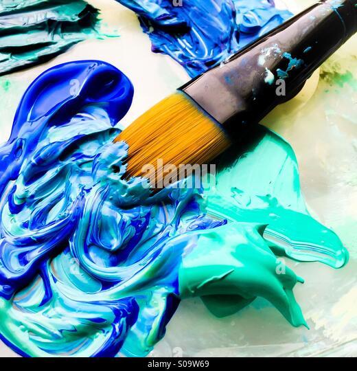 Pinsel in blau und Türkis Farbe. Stockbild