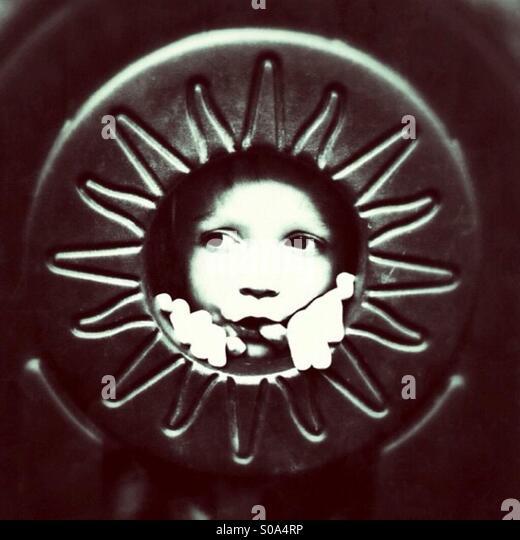 Gesicht in die Sonne Stockbild