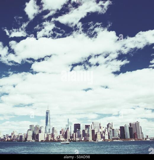 Skyline von Downtown Manhattan New York City Stockbild