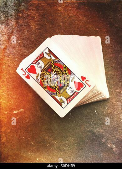 Deck Spielkarten Stockbild