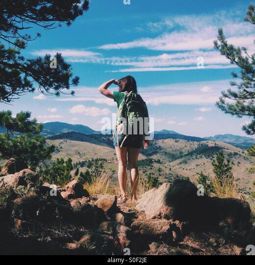 Erkunden die Berge Stockbild