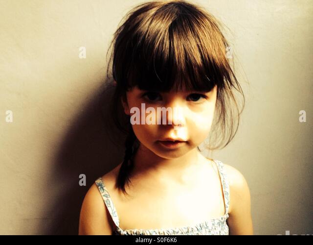 Unglücklich 3-jähriges Mädchen Stockbild