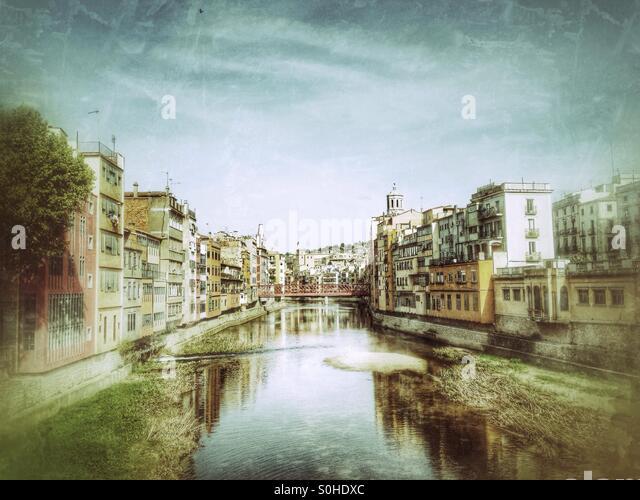 Blick auf die Stadt Girona, Spanien Stockbild