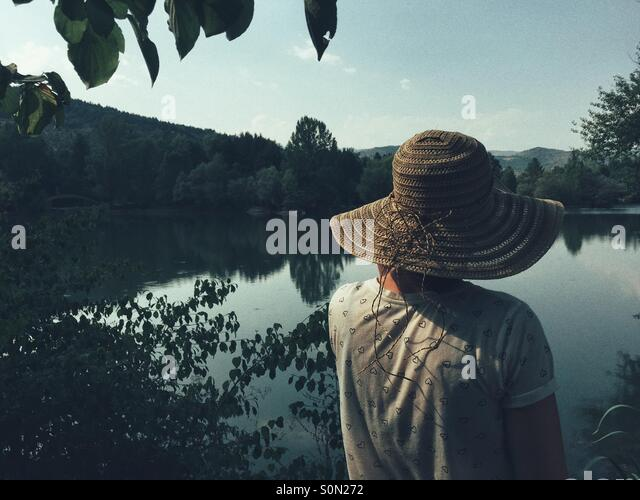 Rückansicht der Frau auf der Suche über See Stockbild