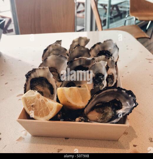 Dutzend Tasmanian Austern mit Zitrone Stockbild