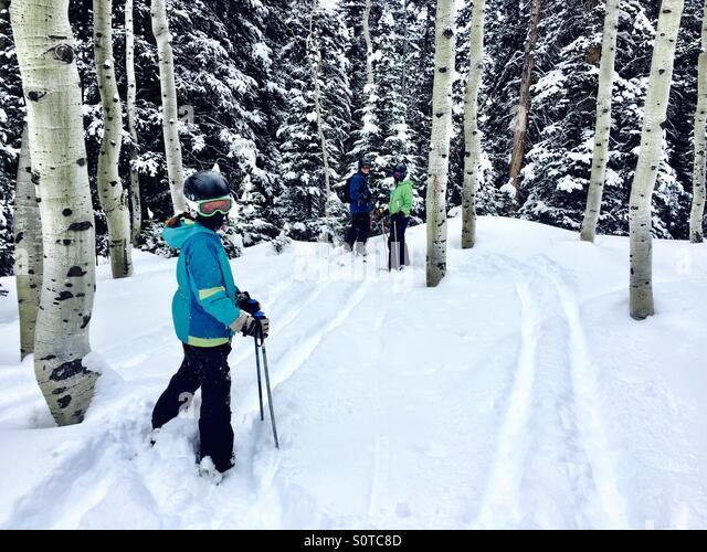 3 Familie, die Mitglieder im Ski-Ausrüstung vorbereiten durch Skifahren und Aspen Grove. Stockbild