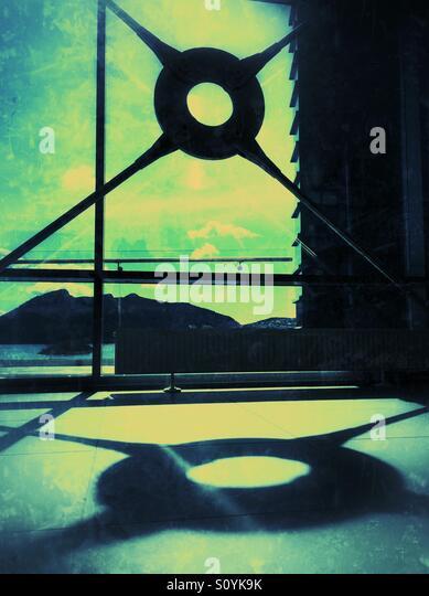 Nautic-Detail in einem Gebäude Stockbild