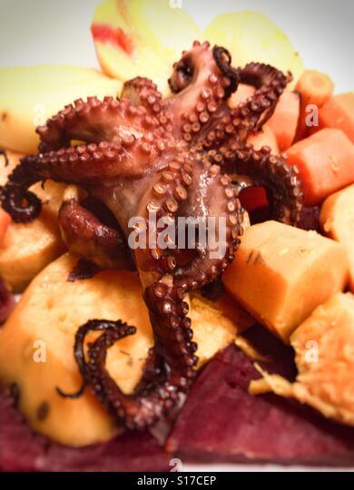 Mahlzeit mit Oktopus Stockbild