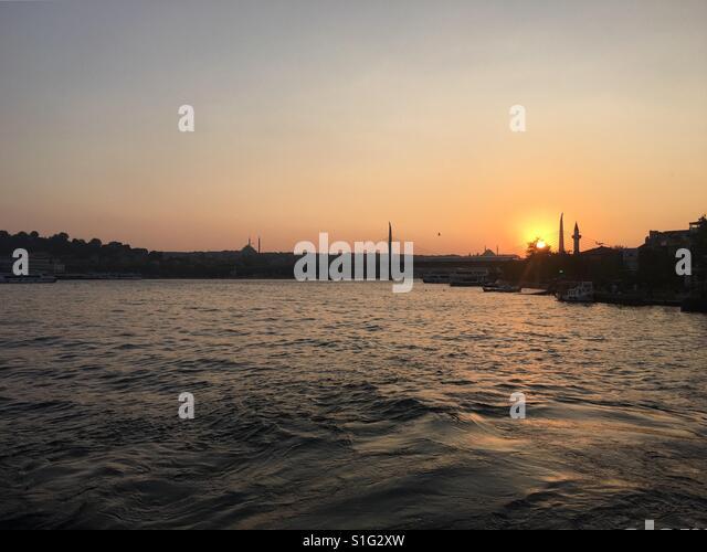 Stadt-Sonnenuntergang Stockbild