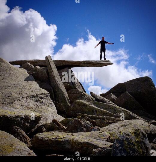 In der Freischwinger Stein Glyder Fach, Snowdonia, Wales. Stockbild