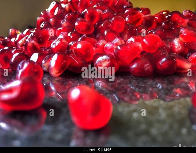 Granatapfel Arils (Samen), Punica granatum Stockbild
