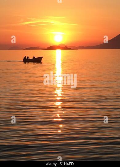 Sonnenuntergang in Cavtat Kroatien Stockbild