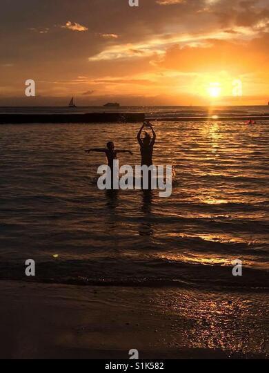 Sonnenuntergang Spaß Stockbild