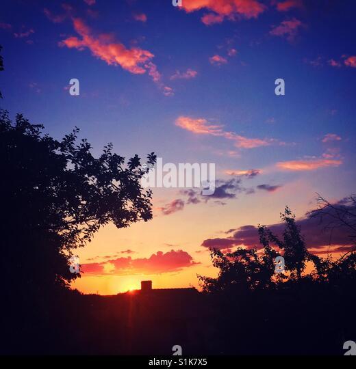 Schönen Sommer Sonnenuntergang Stockbild