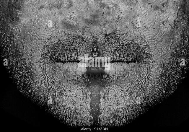 Schmutzige Gesicht des Mannes ohne Nase Stockbild