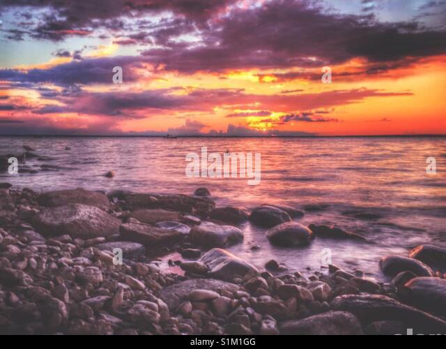 Sommer Sonnenuntergang Stockbild