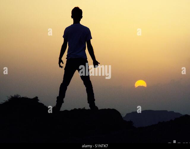 Ein Blick auf den Sonnenuntergang in Pakistan. 2 Stockbild